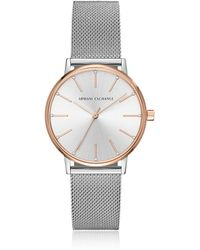 Armani Exchange - Lola Rose And Stainless Steel Mesh Women's Watch - Lyst