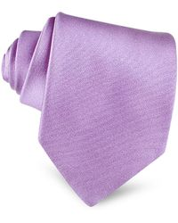 FORZIERI Lilac Solid Smooth Extra-long Pure Silk Tie - Purple