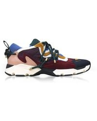 Carven - Colour Block Leather And Suede Trainers - Lyst