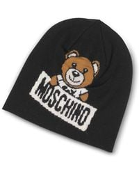 Moschino - Teddy Bear Black Wool Beanie - Lyst