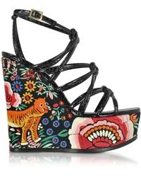 Roberto Cavalli - Floral Embroidered Black Leather Wedges - Lyst