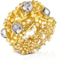 Orlando Orlandini - Diamond 18k Yellow Gold Band Ring - Lyst