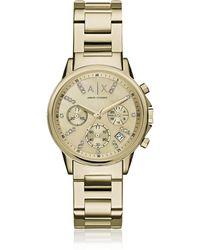 Armani Exchange Lady Banks Gold Tone Chronograph Women's Watch - Metallic