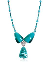 Antica Murrina - Marina 3 - Turquoise Green Murano Glass And Silver Leaf Pendant Necklace - Lyst
