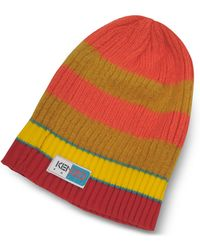 KENZO - Orange & Yellow Stripy Wool Beanie - Lyst