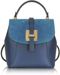 Le Parmentier | Palazia Midnight Blue Suede And Leather Small Backpack | Lyst