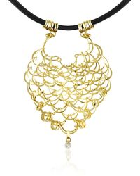 Orlando Orlandini - Scintille - Diamond Drop 18k Yellow Gold Net Necklace - Lyst