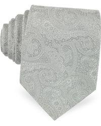 FORZIERI - Light Gray Ornamental Print Woven Silk Tie - Lyst