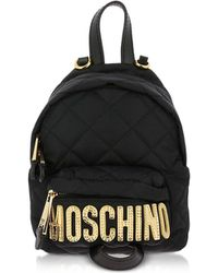 Moschino - Black Quilted Nylon Signature Mini Backpack W/gold Studs - Lyst