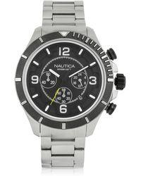 Nautica - Silver Tone Stainless Steel Men's Bracelet Watch - Lyst