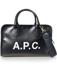 A.P.C. - Sylvie Black Signature Large Satchel Bag - Lyst