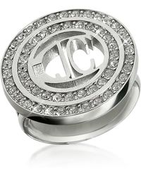 Just Cavalli | Rolly - Crystal Logo Ring | Lyst