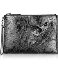 Versus - Black Crackle Patent Leather Wallet Clutch - Lyst