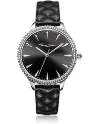 Thomas Sabo - Rebel At Heart Silver Stainless Steel And Black Quilted Leather Strap Women's Watch W/crystals - Lyst