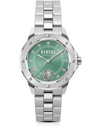 Versus - South Horizons Silver Stainless Steel Women's Bracelet Watch W/green Dial And Crystals - Lyst