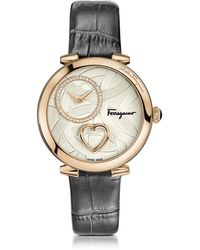 Ferragamo - Cuore Ferragamo Rose Gold Ip Stainless Steel Diamonds And Beating Heart Women's Watch W/grey Croco Embossed Strap - Lyst