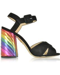 Charlotte Olympia - Emma Black Suede And Rainbow Patent Leather High Heel Sandals - Lyst