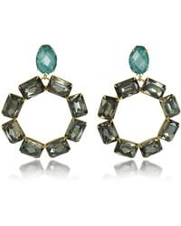 Tory Burch | Vintage Goldtone Brass W/ Denim Blue And Smoke Crystals Clip On Earrings | Lyst