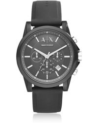 Armani Exchange - Outerbanks Black Silicone Men's Chronograph Watch - Lyst
