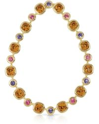 FORZIERI - Purple Pink And Orcher Crystals Necklace - Lyst