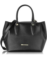 Francesco Biasia - Alicia Black Leather Tote Bag W/wool Lining - Lyst