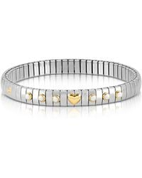 Nomination - Stainless Steel Women's Bracelet W/white Pearls And Golden Beads - Lyst