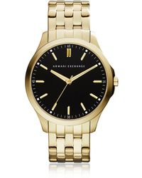 Armani Exchange - Hampton Black Dial Gold Tone Stainless Steel Men's Watch - Lyst