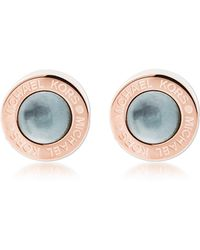 Michael Kors - Logo Pvd Rose Goldtone Stainless Steel Stud Earrings - Lyst