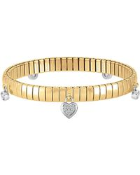 Nomination - Yellow Gold Pvd Stainless Steel Women's Bracelet W/heart Charms And Cubic Zirconia - Lyst