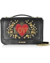 03f19fb46bd Love Moschino - Black Eco-leather Shoulder Bag W/ Heart Crystals - Lyst