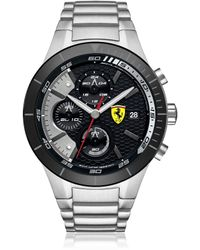 Ferrari - Red Rev Evo Silver Tone Stainless Steel Men's Chrono Watch - Lyst