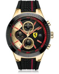 Ferrari - Red Rev Evo Black And Red Stainless Steel Case And Silicone Strap Men's Chrono Watch - Lyst