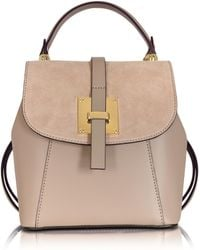 Le Parmentier - Palazia Nude Suede And Leather Small Backpack - Lyst