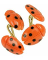 FORZIERI - Vintage Ladybug Coral And Onyx 18k Gold Cufflinks - Lyst