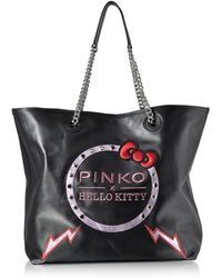 Pinko - Hello Kitty Ribbon Maxi Black Eco Leather Tote Bag - Lyst