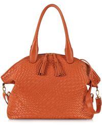 FORZIERI - Orange Woven Leather Bowler Bag - Lyst