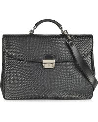 FORZIERI | Black Woven Leather Briefcase | Lyst