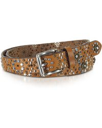 FORZIERI - Brown Studded Leather Belt - Lyst
