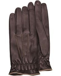 FORZIERI - Men's Brown Cashmere-lined Calf Leather Gloves - Lyst