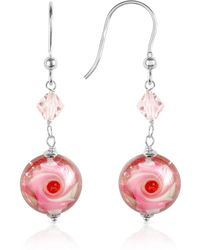 House of Murano - Vortice - Pink Swirling Murano Glass Bead Earrings - Lyst