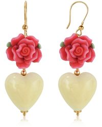 House of Murano | Heart Murano Glass Drop Earrings | Lyst