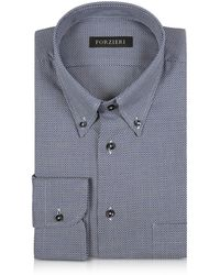 FORZIERI - Blue And White Button-down Woven Cotton Shirt - Lyst