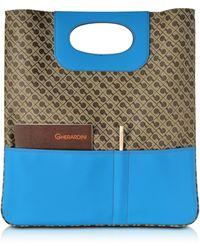 Gherardini - Julieta Millerighe Fabric And Eco Leather Flat Tote Bag - Lyst