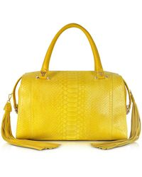 Ghibli | Yellow Python And Leather Satchel W/fringe Tassel | Lyst