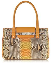 Ghibli | Orange And Yellow Python And Leather Large Satchel | Lyst