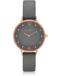 Skagen - Anita Rose Goldtone Stainless Steel Women's Watch W/gray Leather Band - Lyst