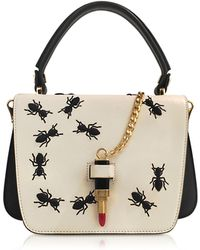Giancarlo Petriglia - Queen Leather Bag W/ant Embroidery And Lipstick Fastening Detail - Lyst
