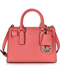 Michael Kors - Dillon Coral Saffiano Leather Top Zip Extra Small Crossbody - Lyst