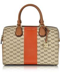 d100ad40d237 Michael Kors - Mercer Medium Center Stripe And Heritage Signature Duffle Bag  - Lyst