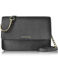 Michael Kors - Daniela Large Black Saffiano Leather Crossbody Bag - Lyst